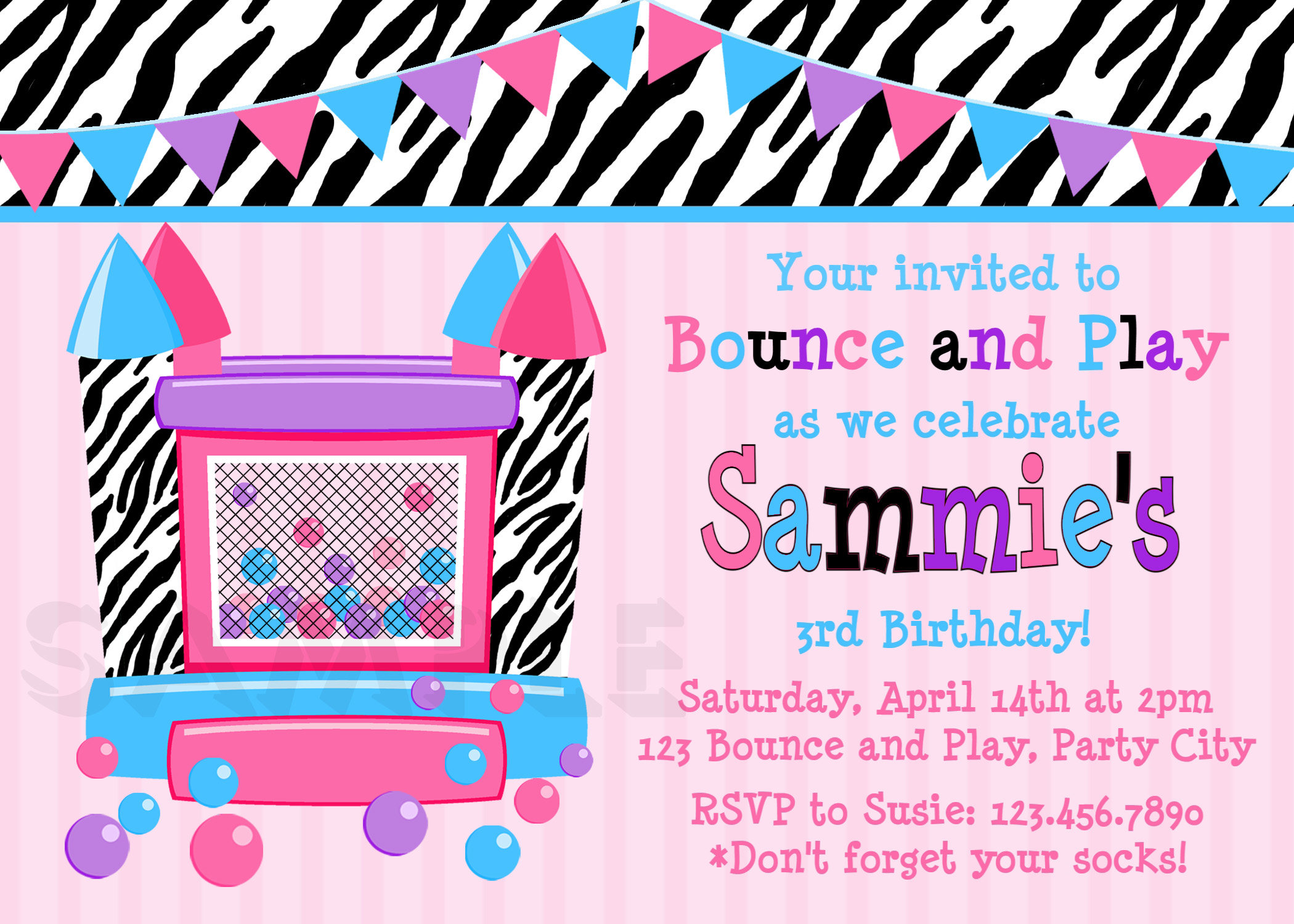 printable birthday invitations girls bounce house party girls printable birthday invites