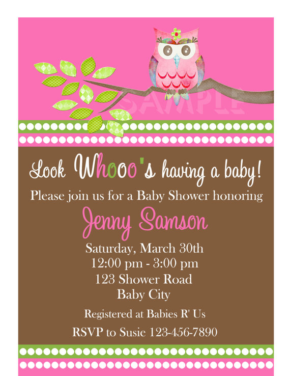 baby shower invitations, girl owl invite, printable, Baby shower invitations