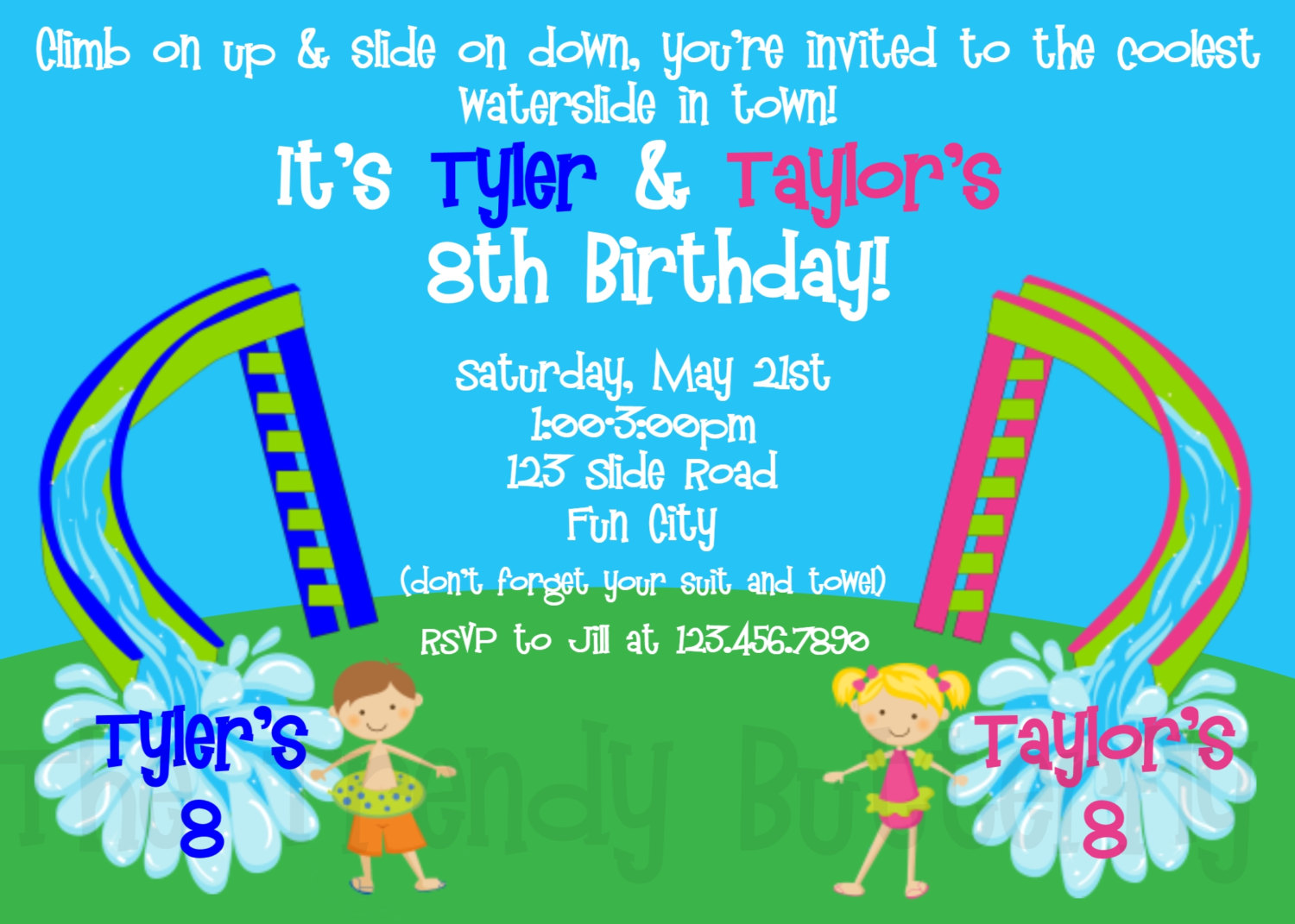 Birthday Invitations Siblings Twins WaterSlide Birthday Invitation – Water Slide Party Invitations