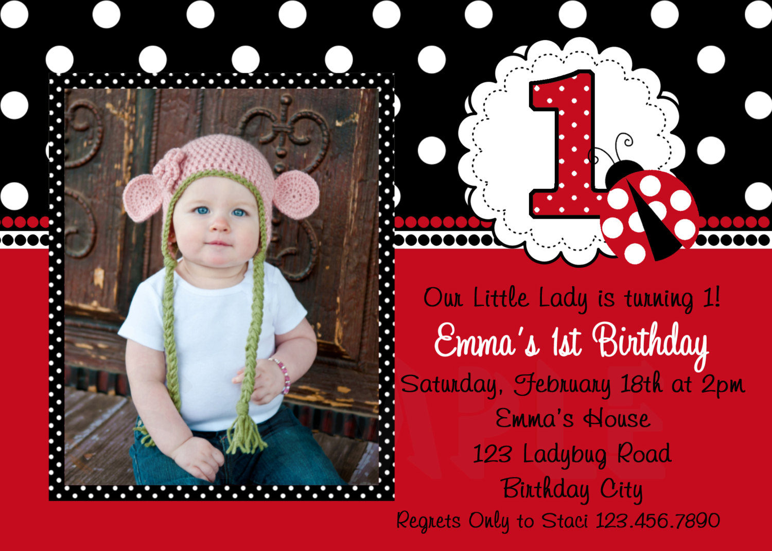 Ladybug First Birthday Invitations gangcraftnet – Cheap First Birthday Invitations