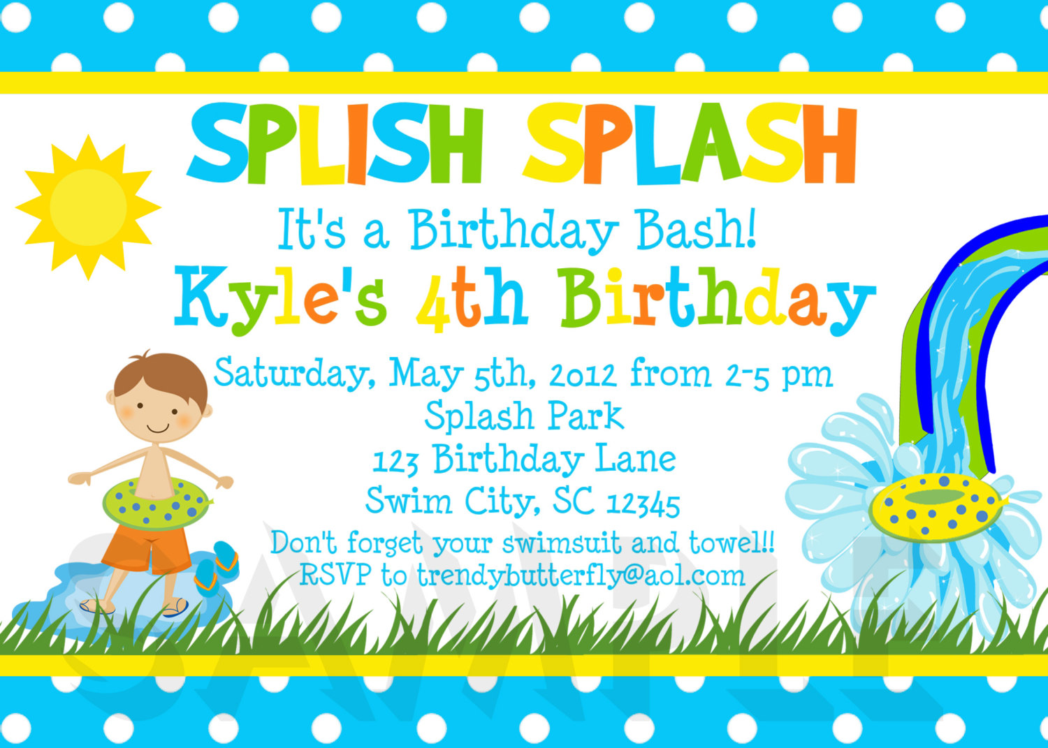 Printable Birthday Party Invitations Summer Themed