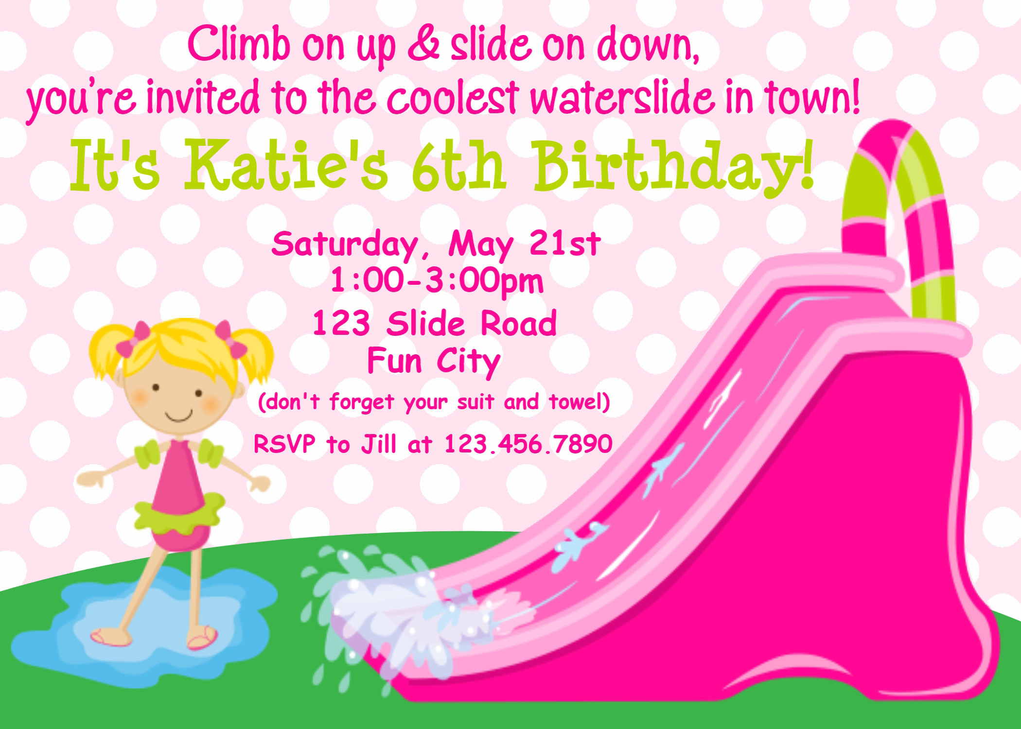 Printable Birthday Invitations, Girls Inflatable Water Slide Party ...