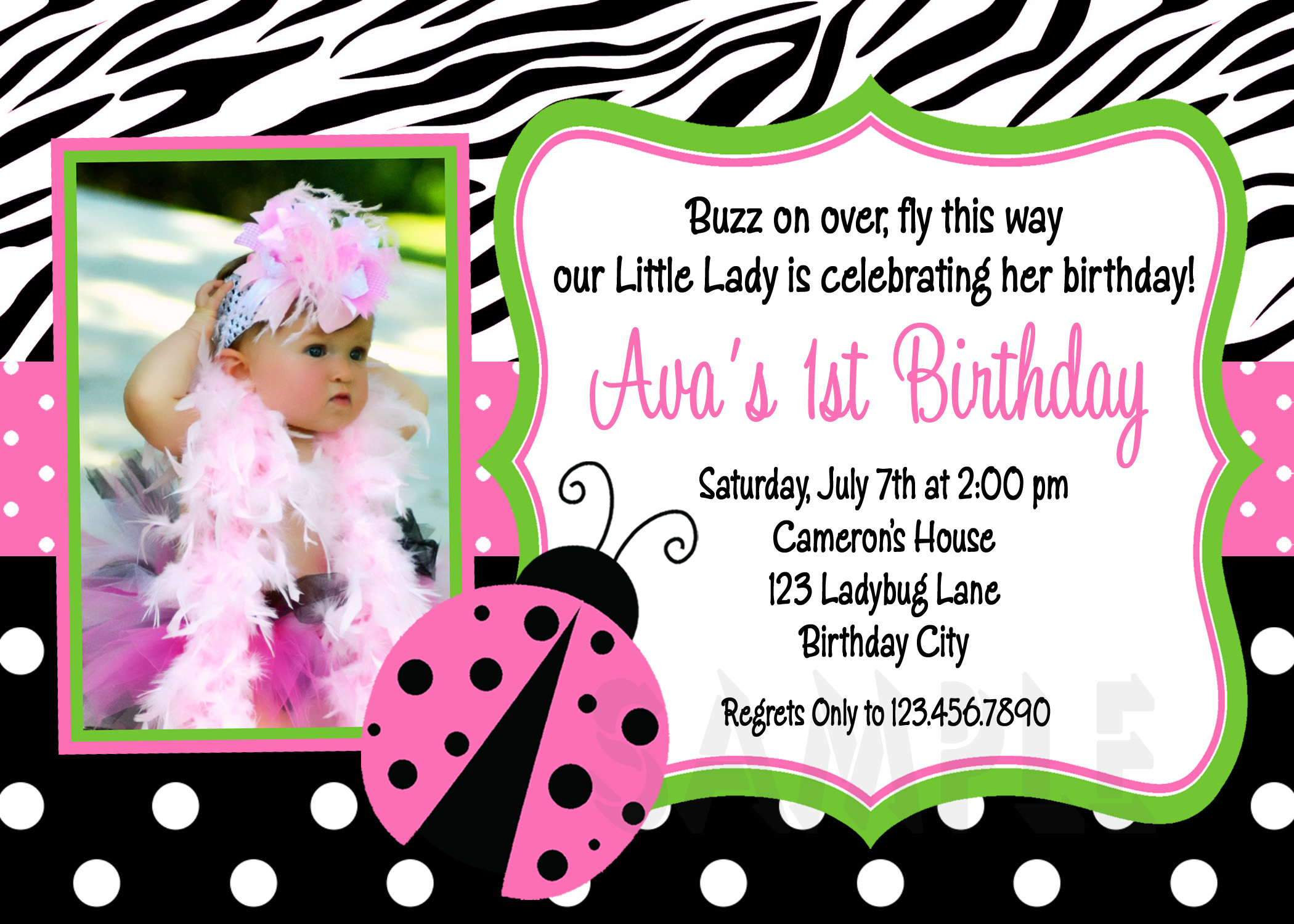 printable birthday invitations ladybug first party pink ladybugs girls printable birthday invites