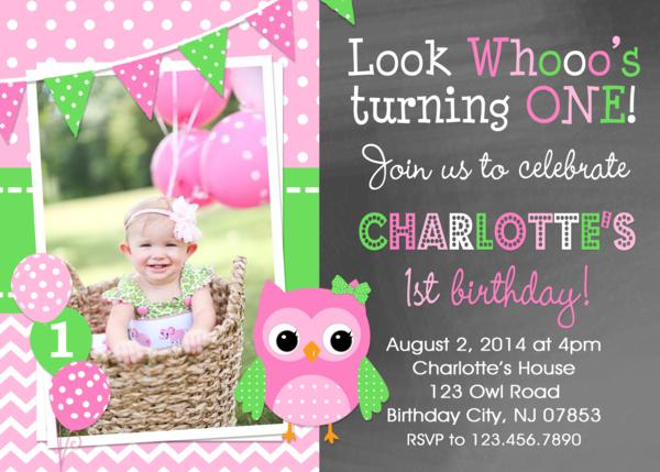 chevron owl birthday invitation , girls owl st birthday , cupcake, Birthday invitations