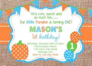 Burlap Boys Pumpkin Birthday Invitation