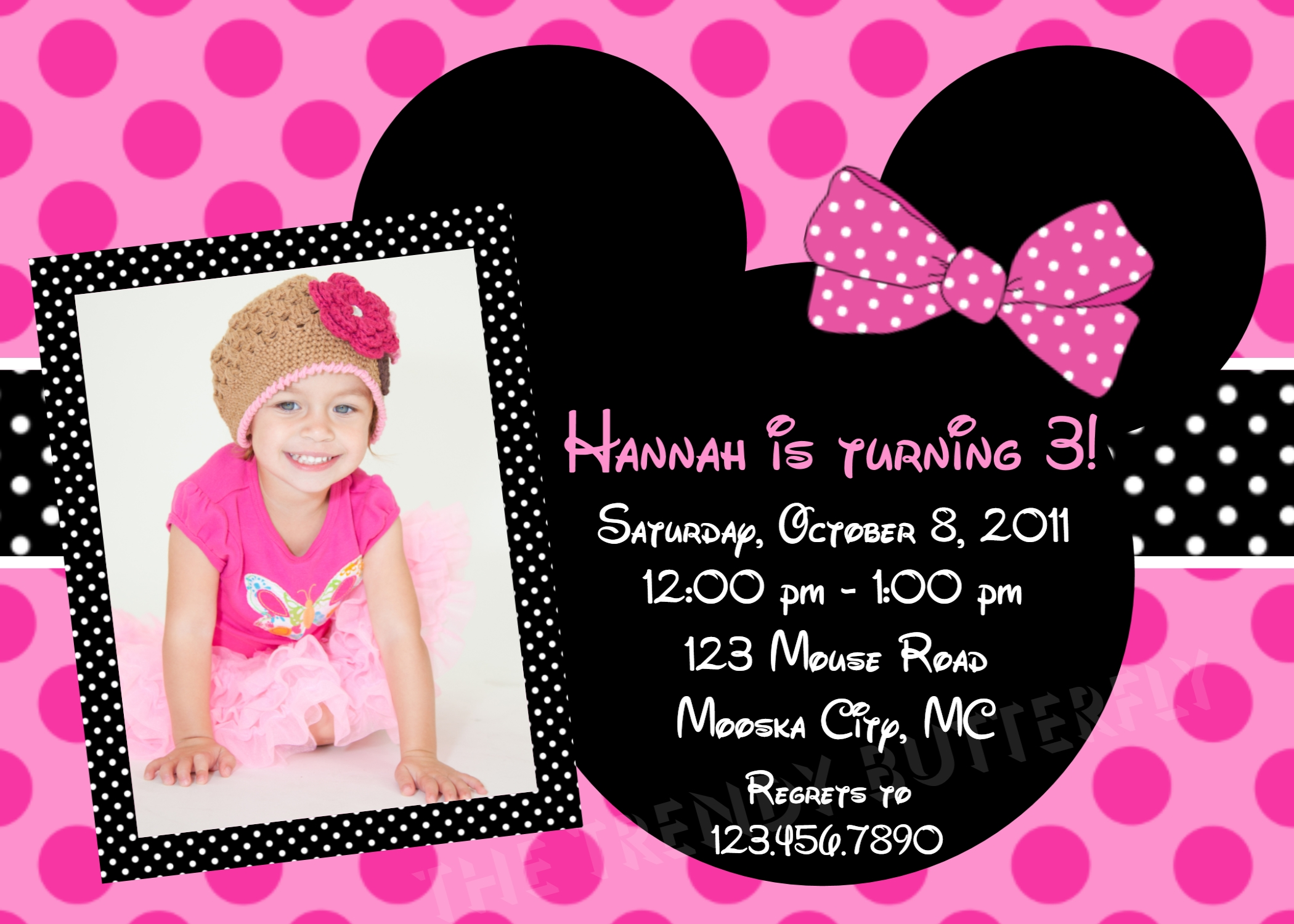 Birthday Invitations, Girls Pink Minnie Mouse Party, 1st Birthday Invitation, Photo Invitation