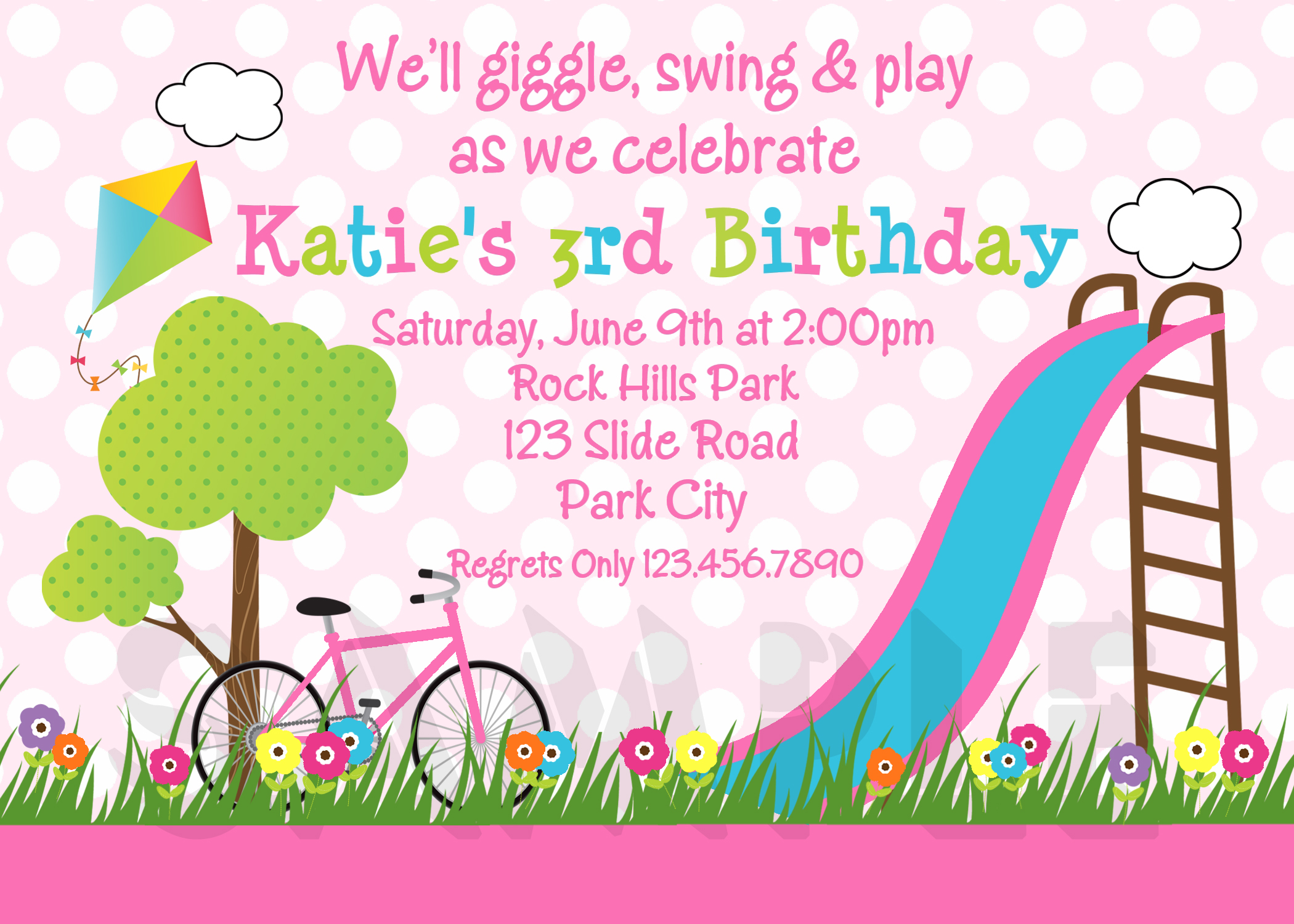 Printable Birthday Invitations, Girls Park Party
