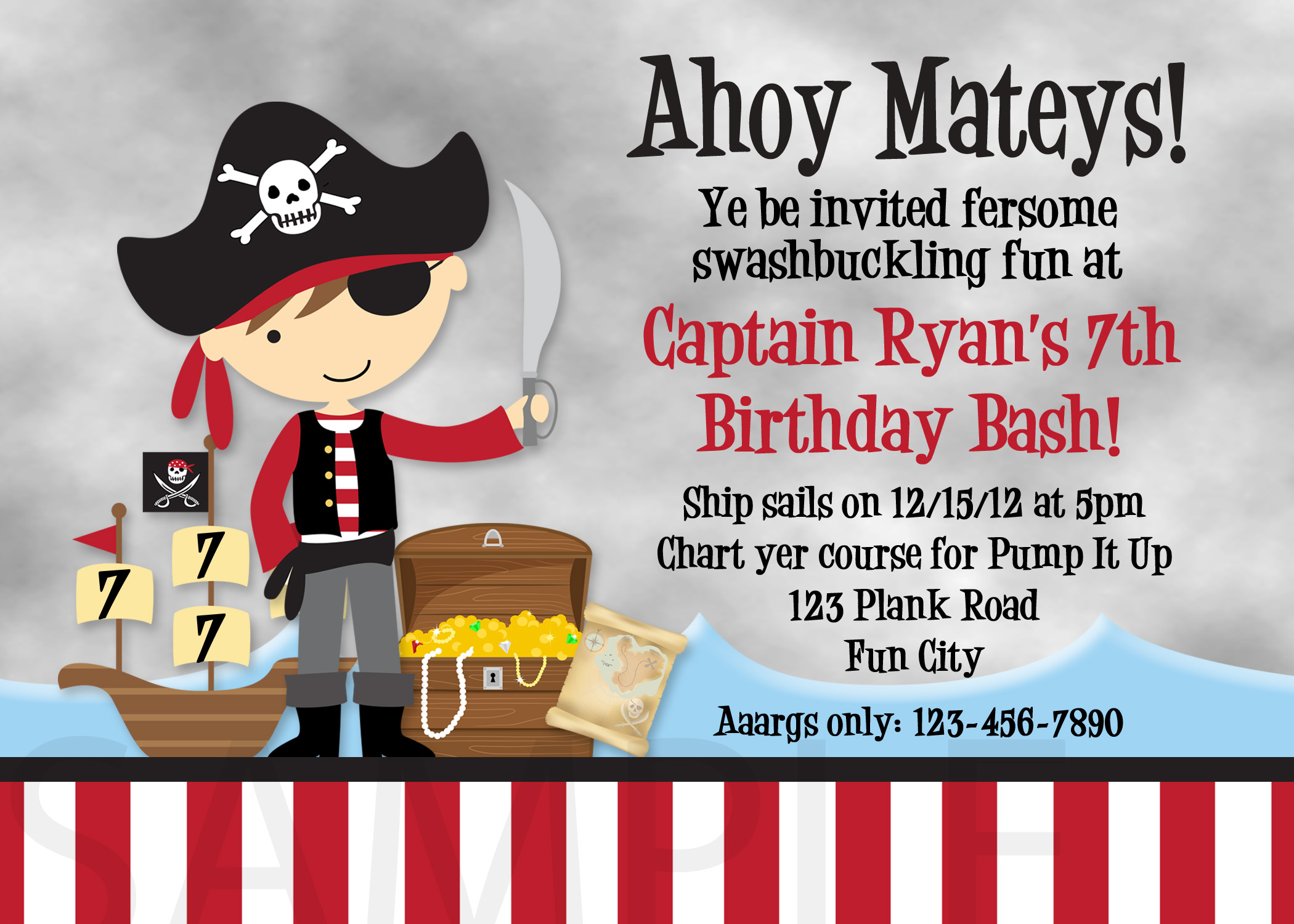 Printable Birthday Invitations, Little Boys Pirate Party Invites