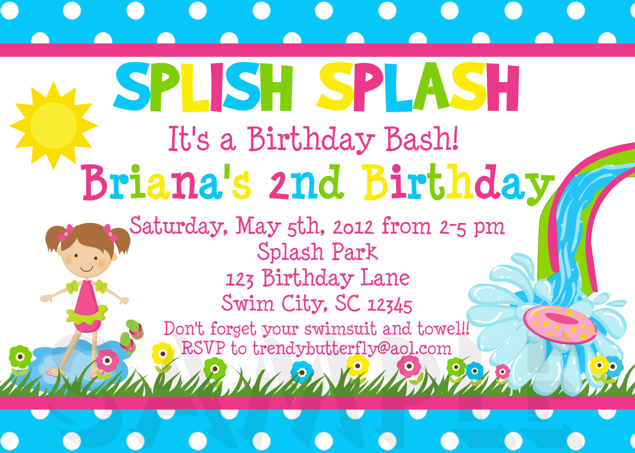 Birthday Invitations Girls Water Splish Splash Party