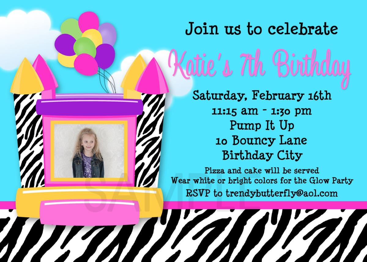 Printable Birthday Invitations, Girls Bounce House Party ...