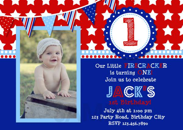 Printable Birthday Party Invitations 4th Of July Red White