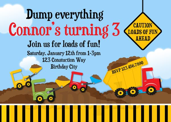 printable birthday invitations, construction truck party, Birthday invitations