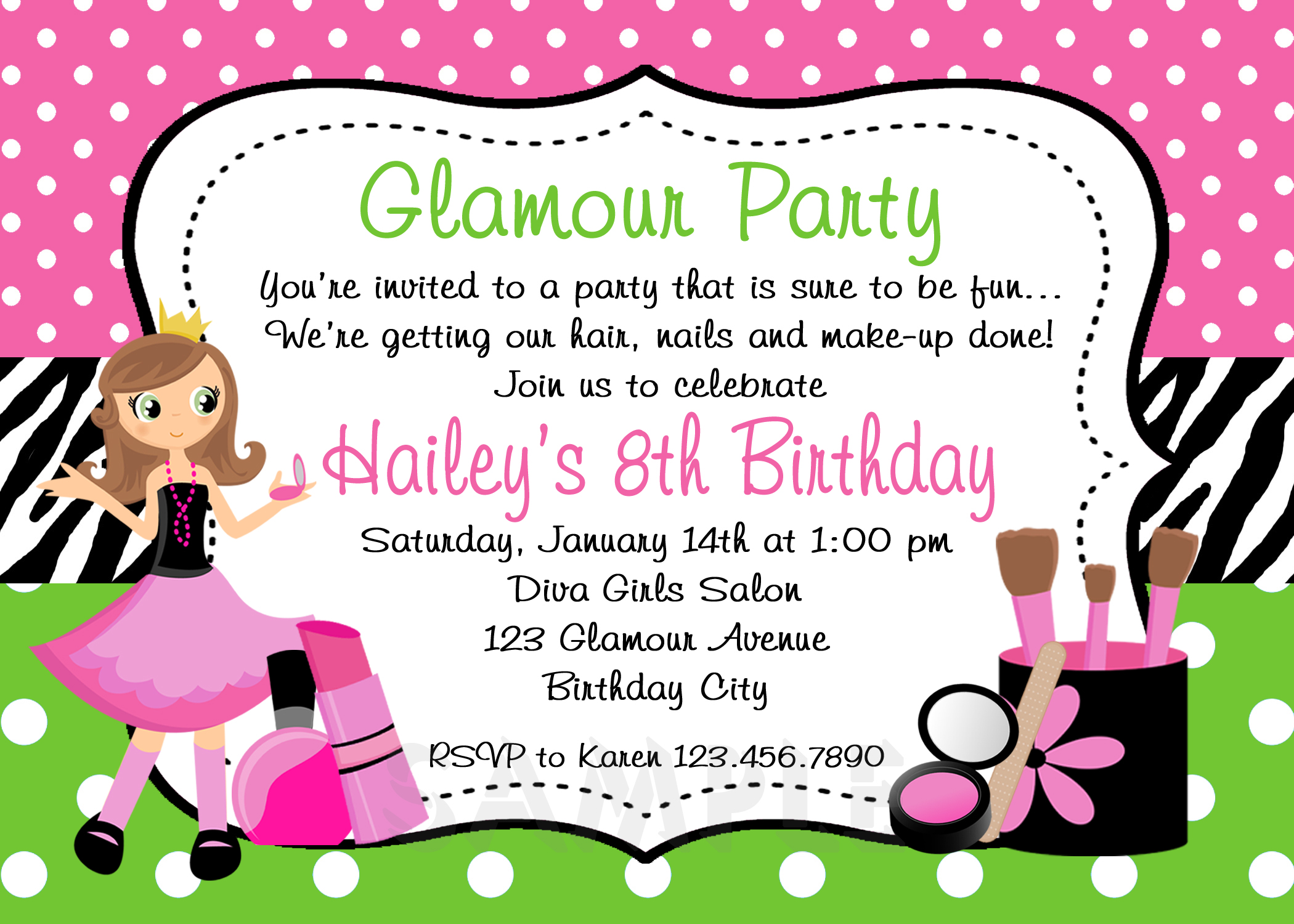 Glamour Birthday Invitation , Glamour Party , Spa Birthday Party