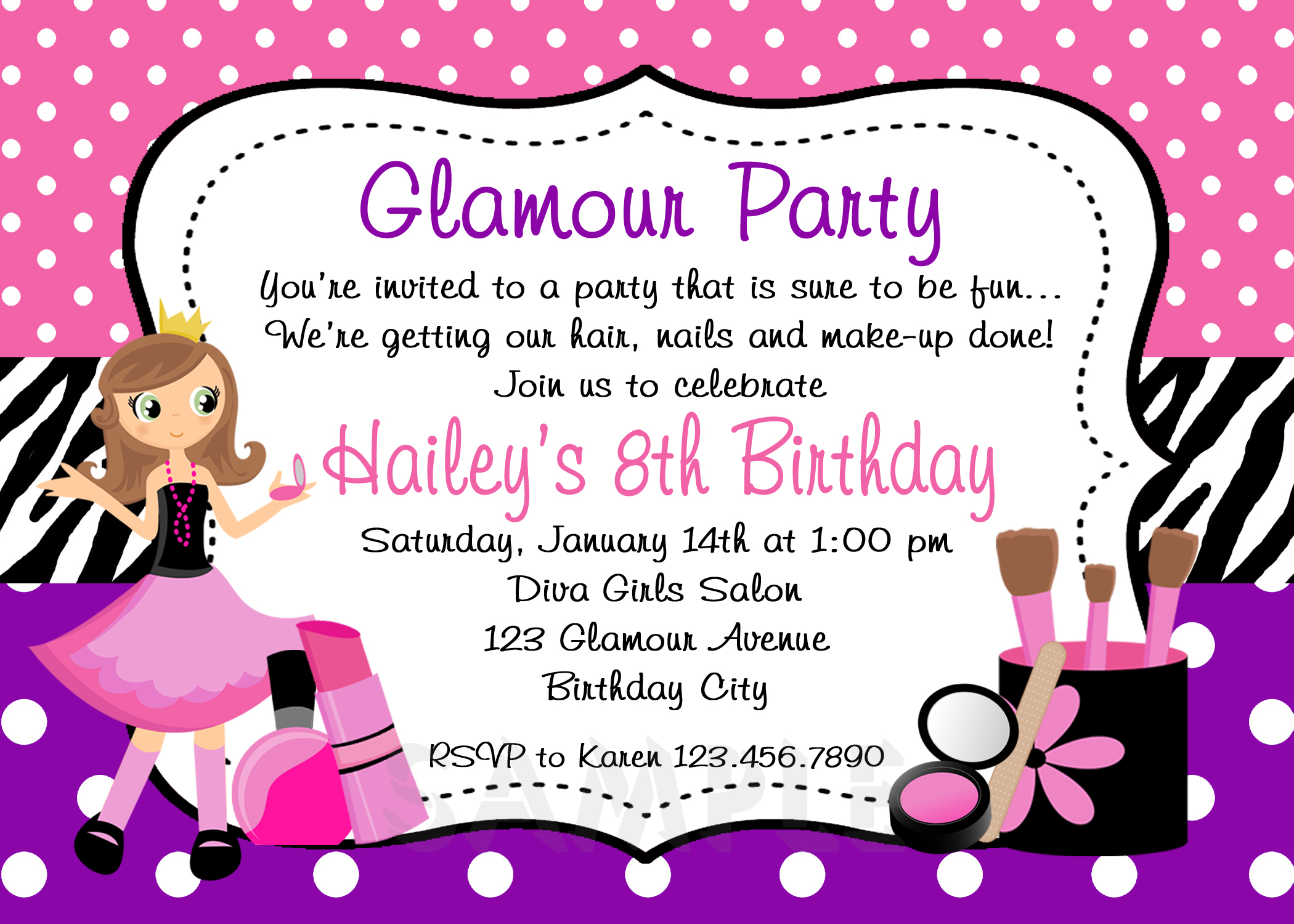 Printable Birthday Invitations, Girls Glamor Beauty Party,