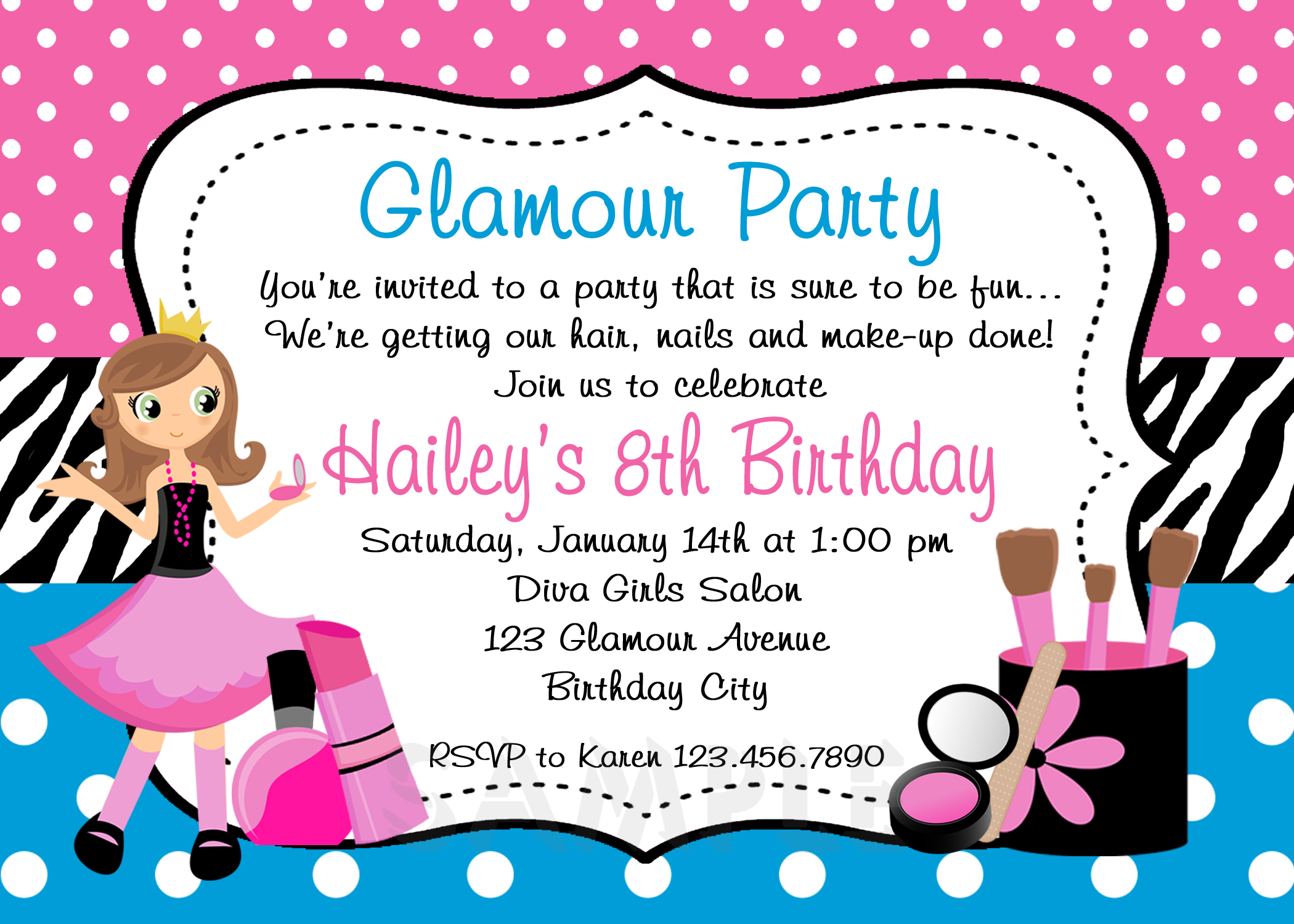 Printable Birthday Invitations Girls Glamor Beauty Party
