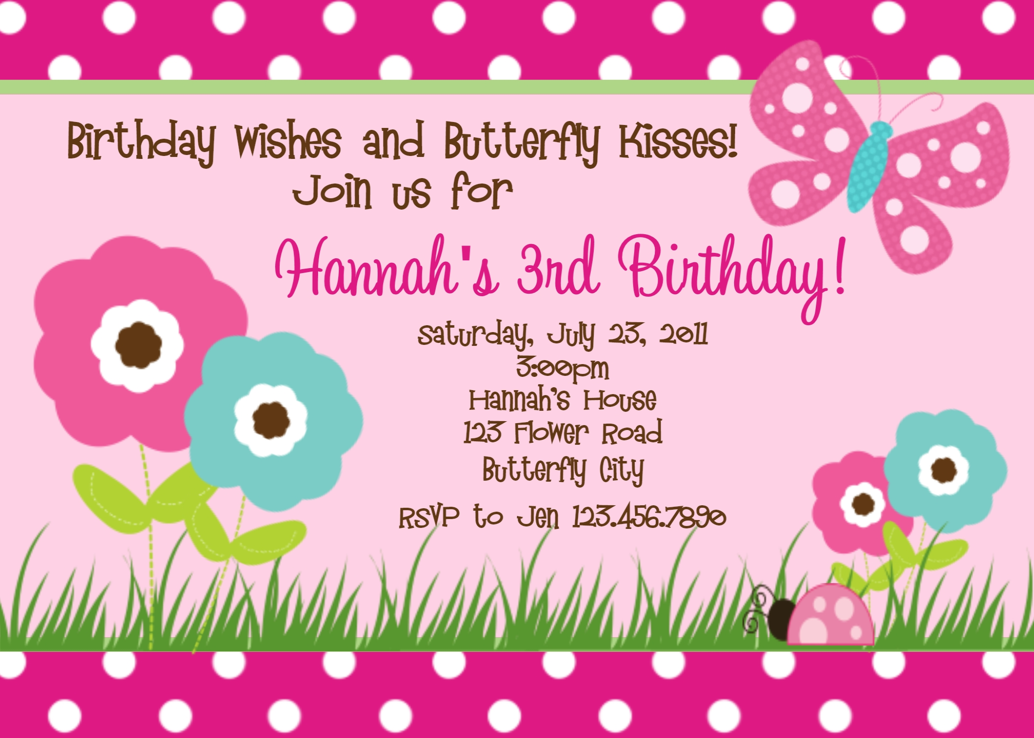Printable Birthday Invitations, Butterfly Party, Little Girl