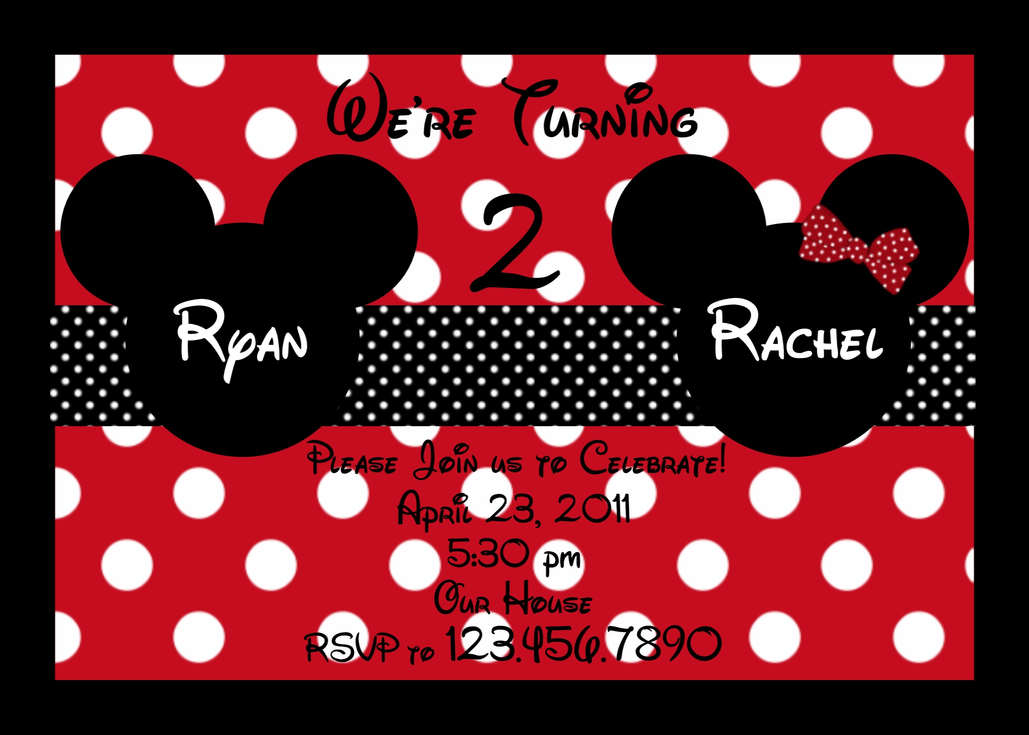 Birthday Invitations, Twins Party, Siblings Birthday, Mouse Themed
