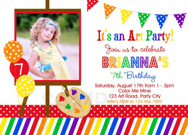 art party invitation, pottery party invitation , painting party, Party invitations