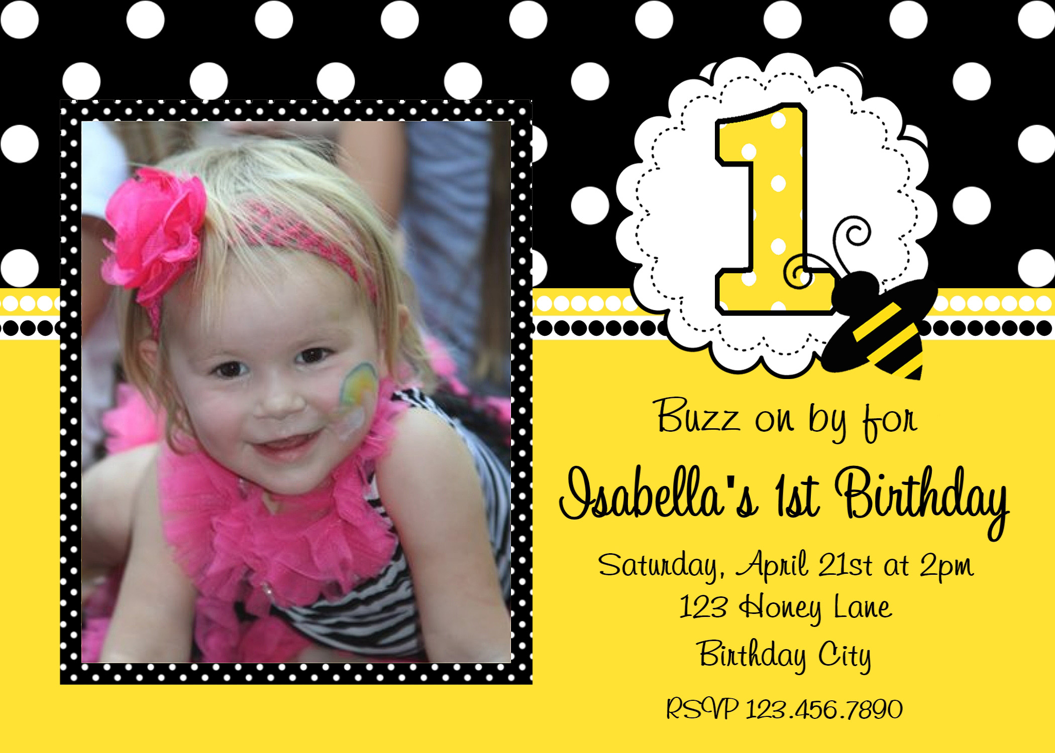 printable birthday invitations girls bumble bee party