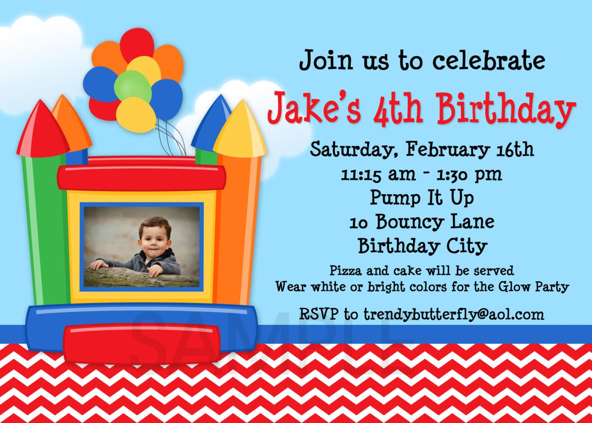 Bounce house photo birthday invitations 1st birthday invitation bounce house boys photo invitation stopboris Choice Image