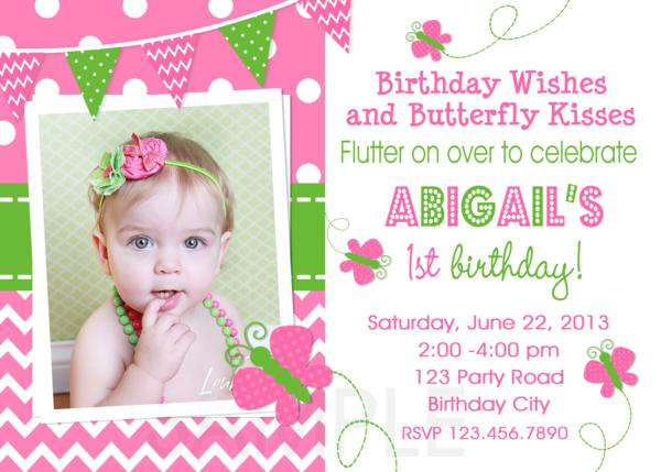 Printable Birthday Party Invitations 1st Butterfly Pink