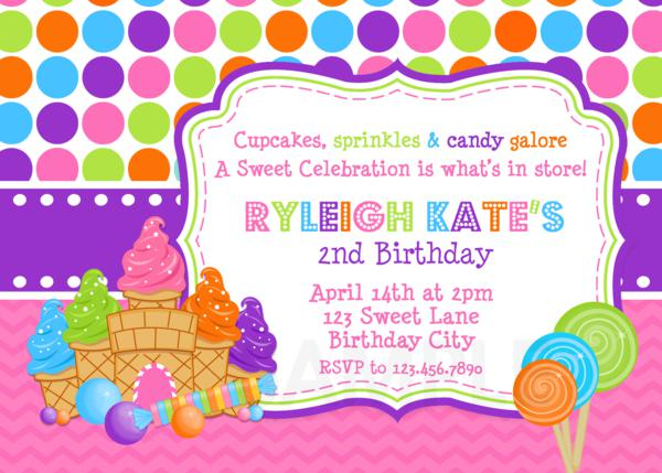 printable birthday party invitations sweet shoppe candy theme
