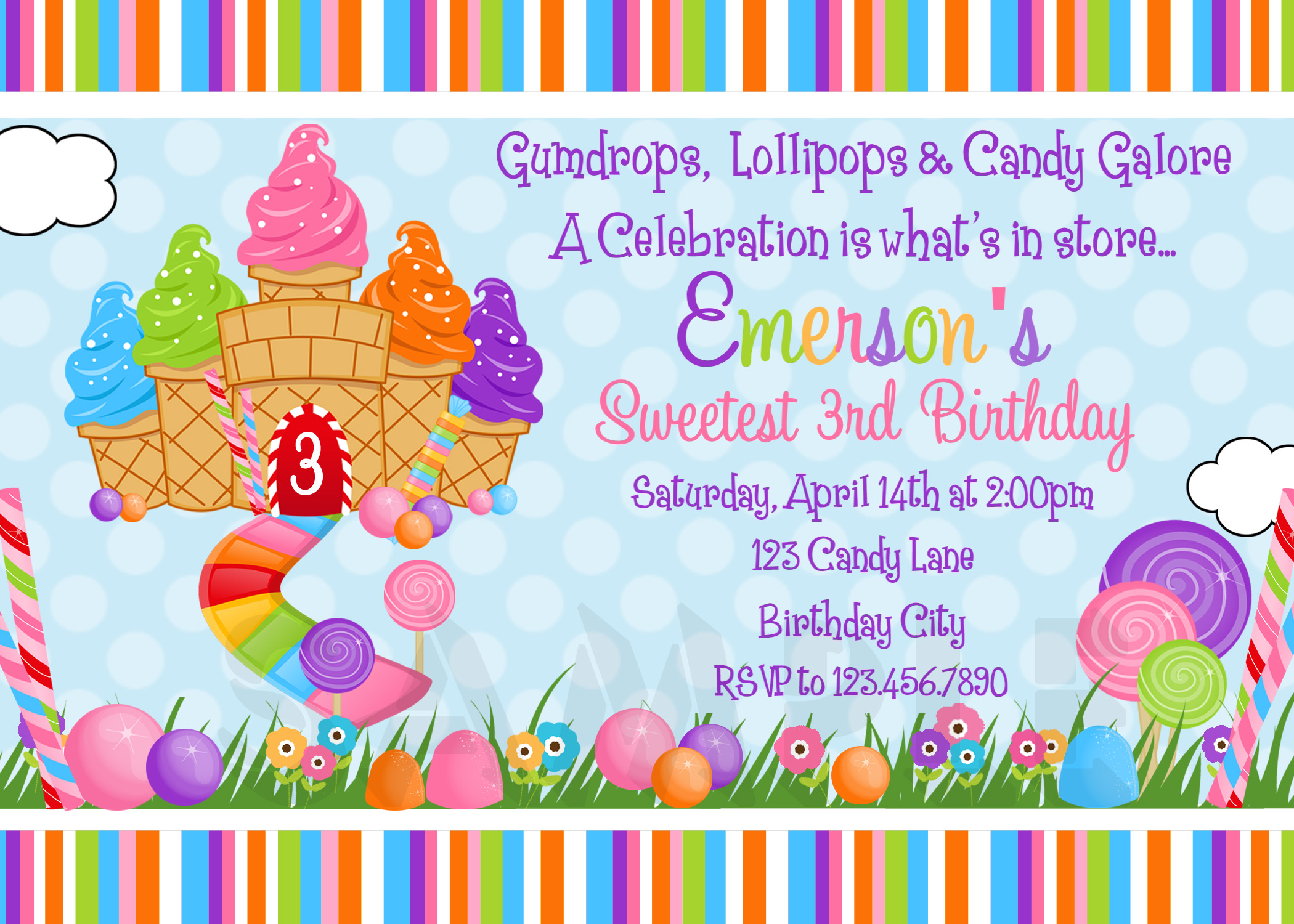 printable birthday invitations, girls candyland party,, Party invitations
