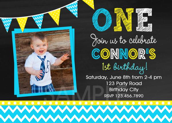 Chevron Birthday Party Invitations Boys 1st Birthday Invitation
