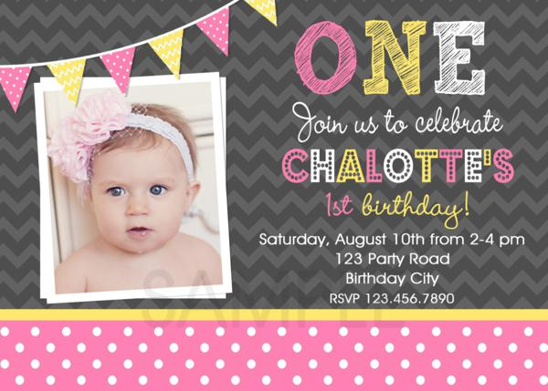Pink And Yellow Birthday Party Invitations 1st Butterfly