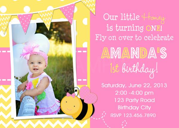 printable birthday invitations girls bumble bee party pink and