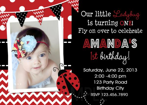 Printable Birthday Party Invitations 1st Birthday Ladybug red