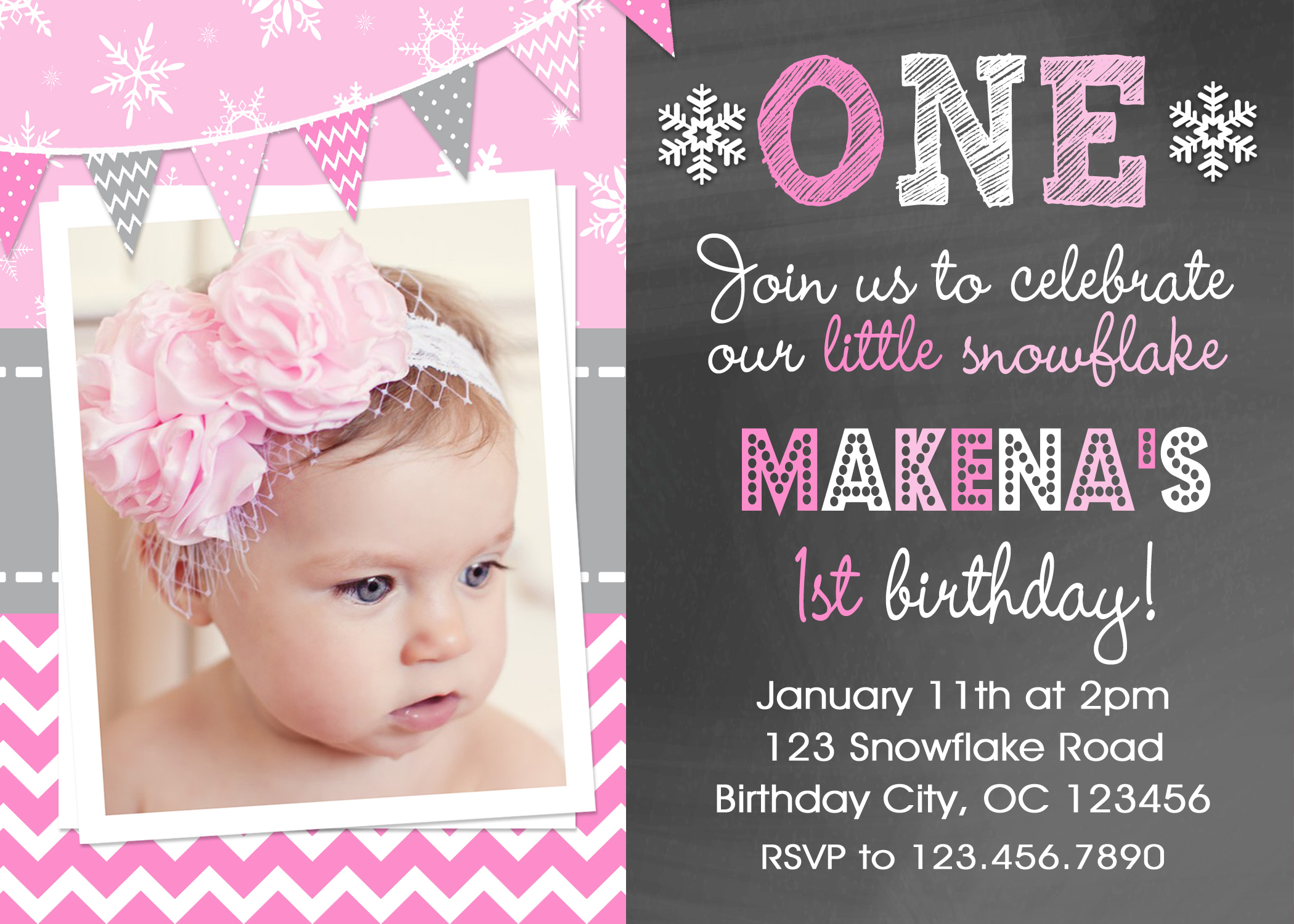 snowflake printable birthday invitations girls winter snowflake party