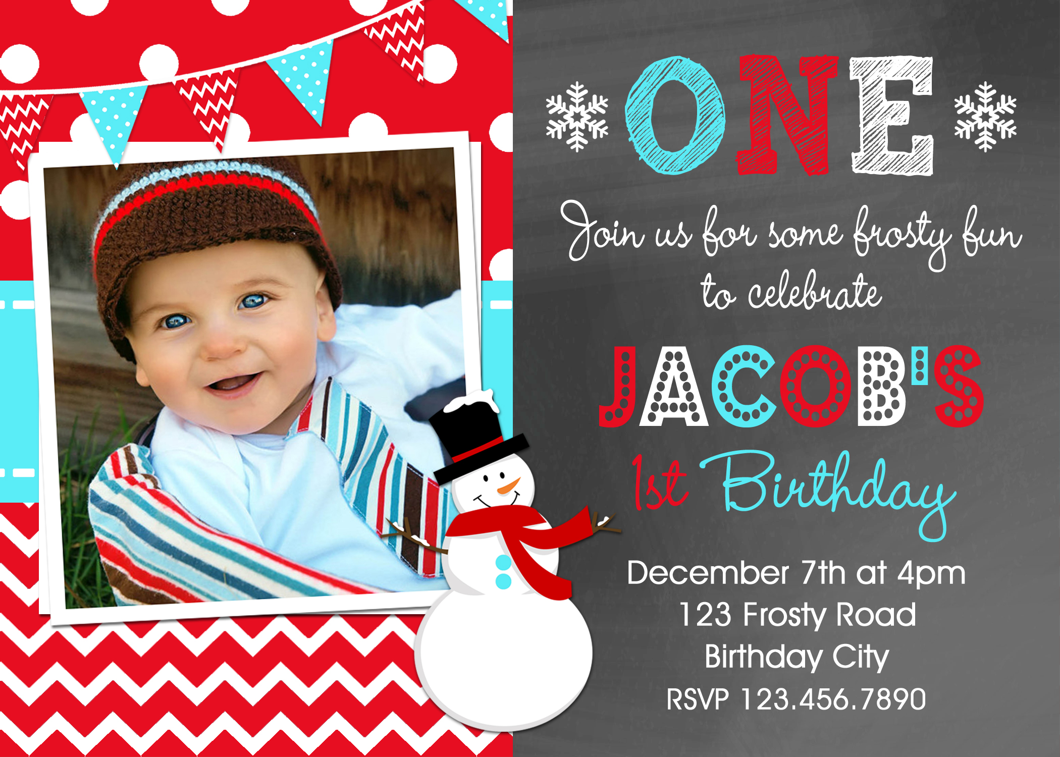 Snowman Birthday Invitations Red Boys Winter Birthday Party Invites