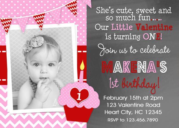 ValentineS Day Birthday Invitations Girls ValentineS Day Party