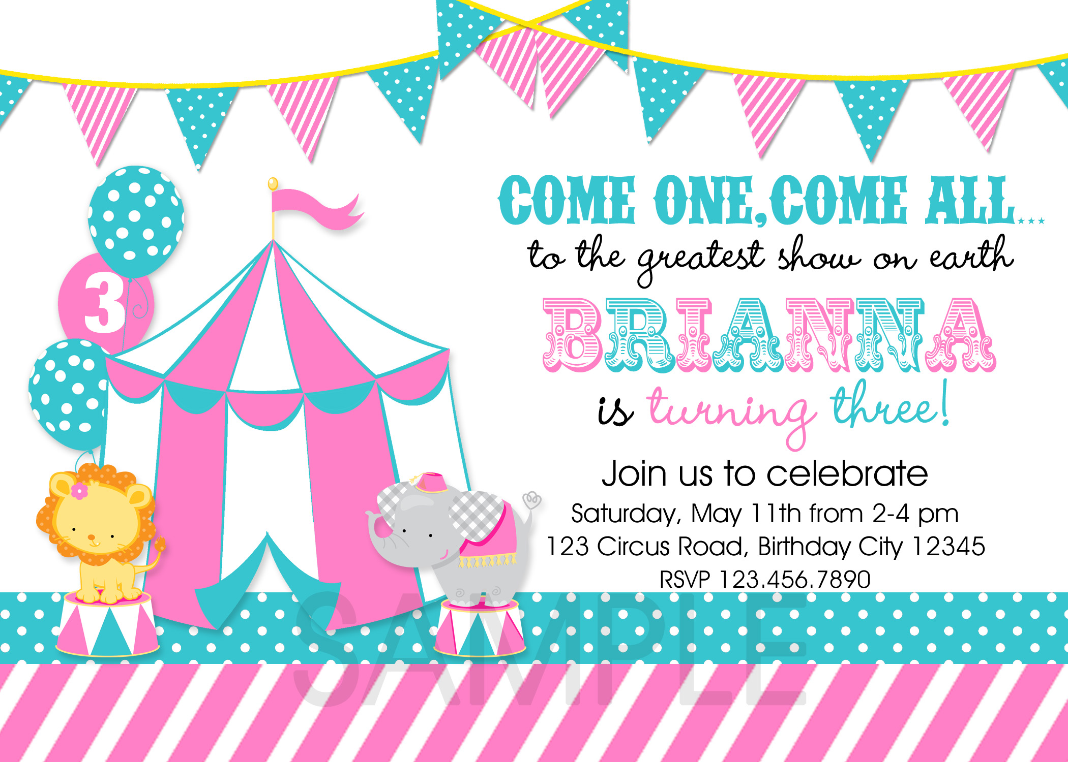 Printable Birthday Party Invitations Circus Carnival Theme