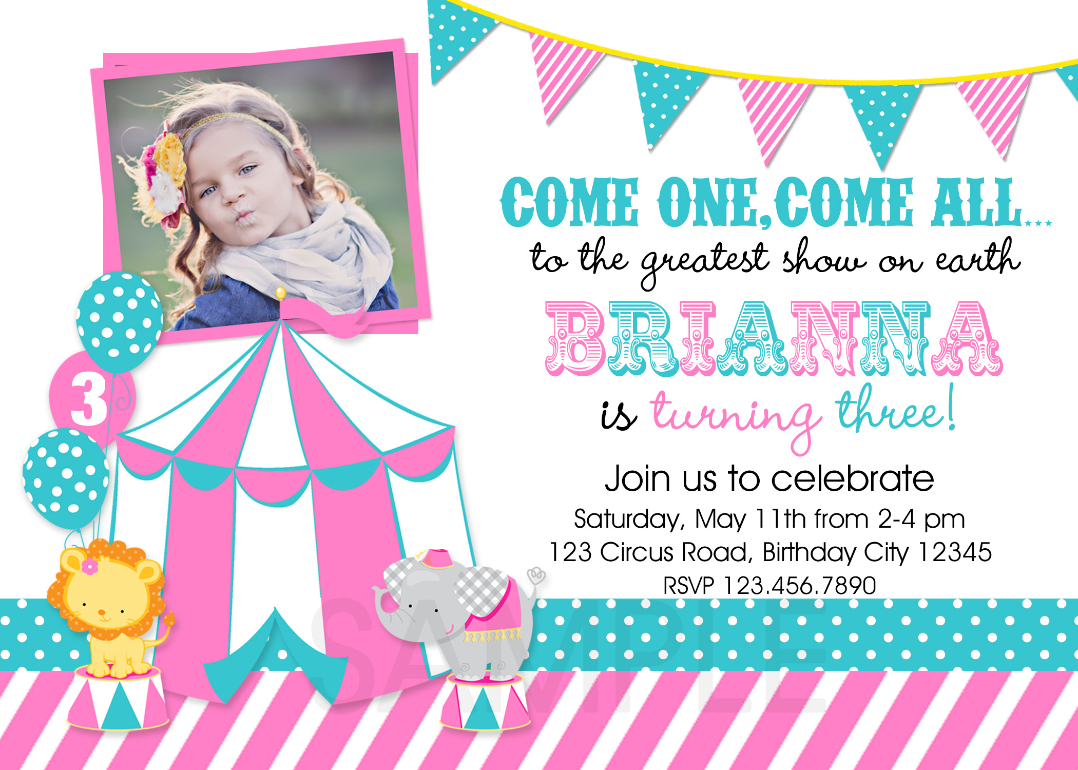 Printable Birthday Party Invitations Circus Carnival Theme Invitation
