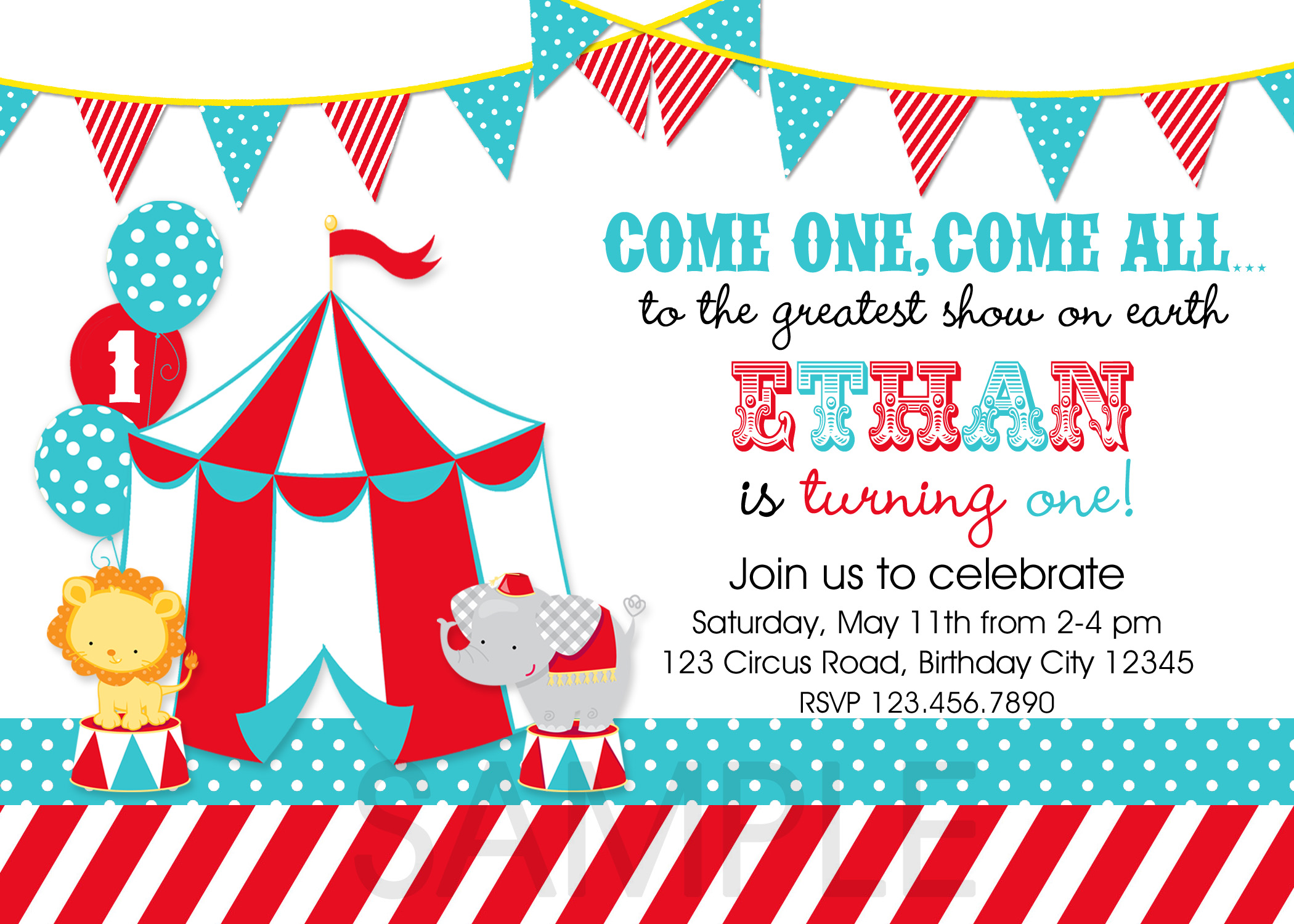 Circus Birthday Invitation Carnival Birthday Invitation