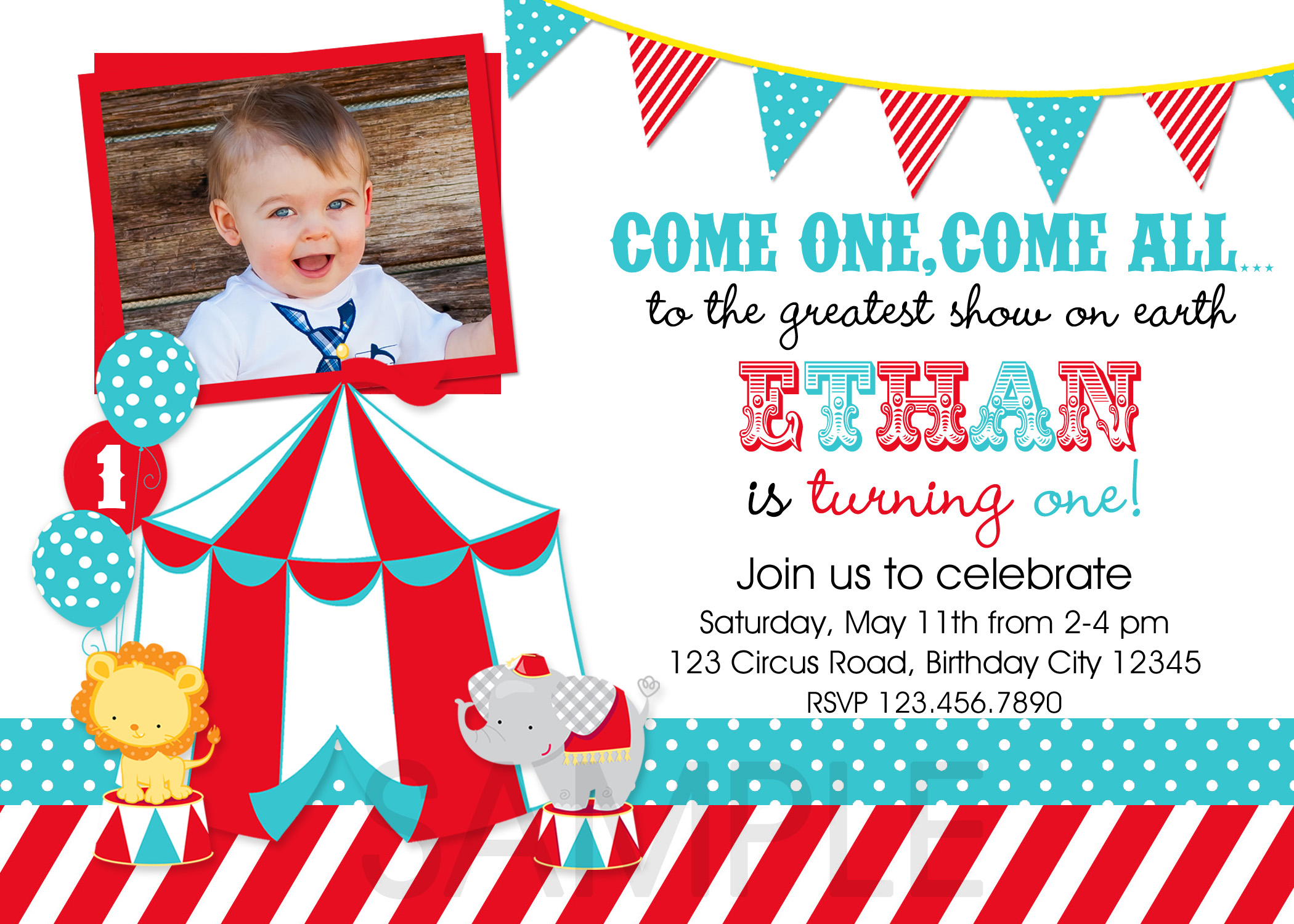 image relating to Printable Carnival Birthday Invitations called Vibrant Circus Carnival Birthday Photograph Invitation