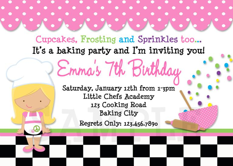 Printable Birthday Invitations, Cooking Birthday Party ...