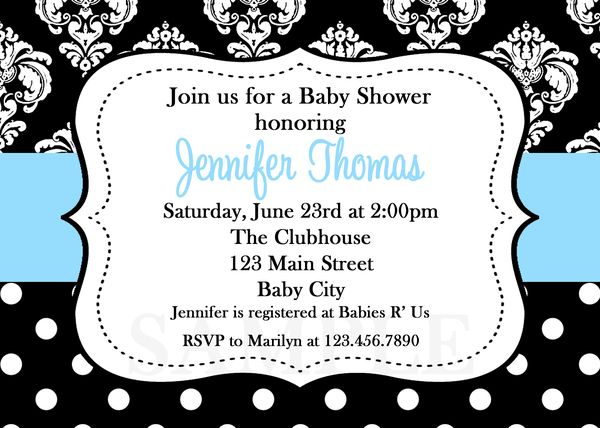 baby shower invitations boy damask invite printable