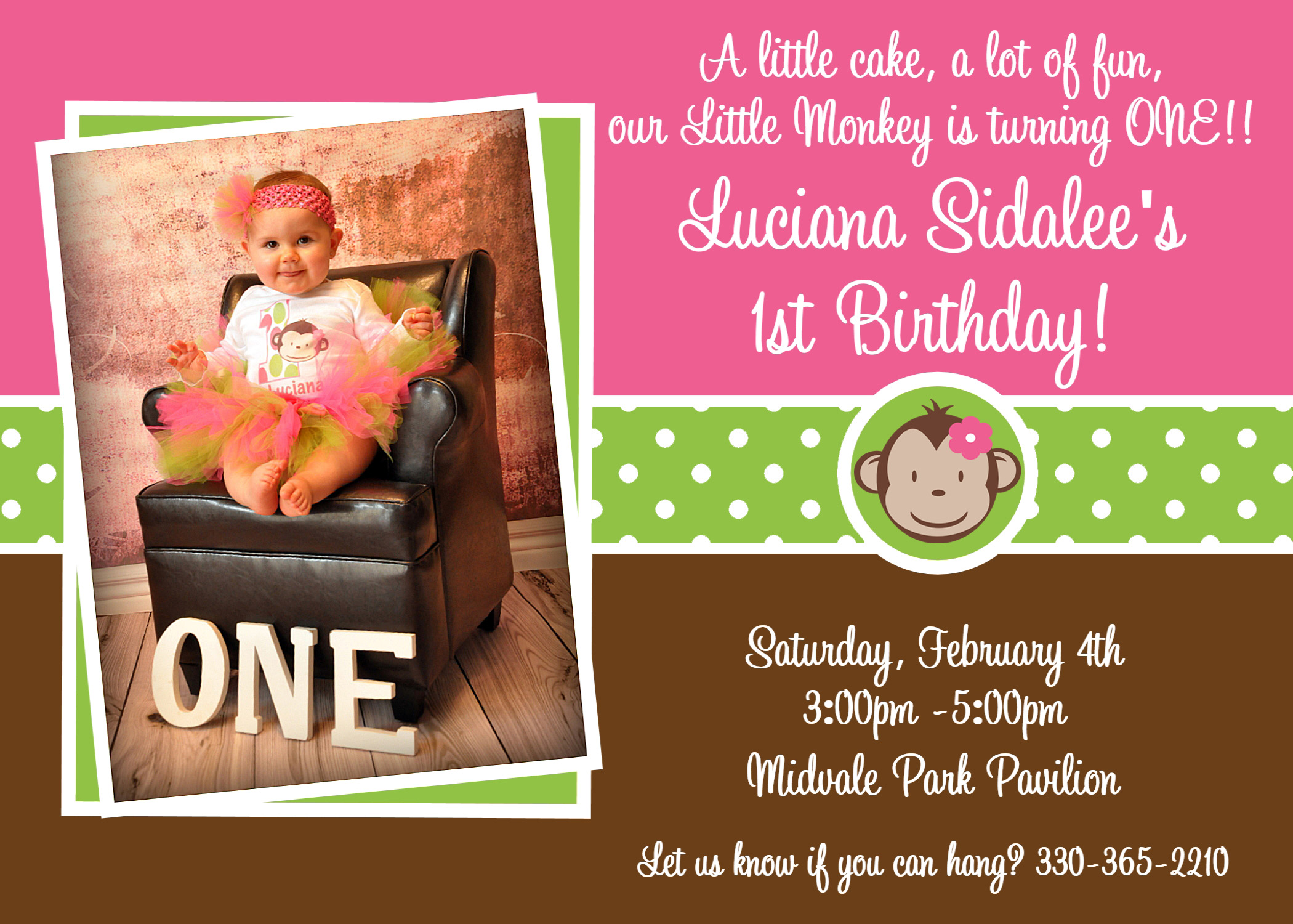 Printable Birthday Invitations, Girls Mod Monkey 1st Party,