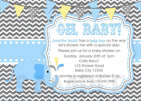 baby shower invitations, boy elephant blue invite, printable,