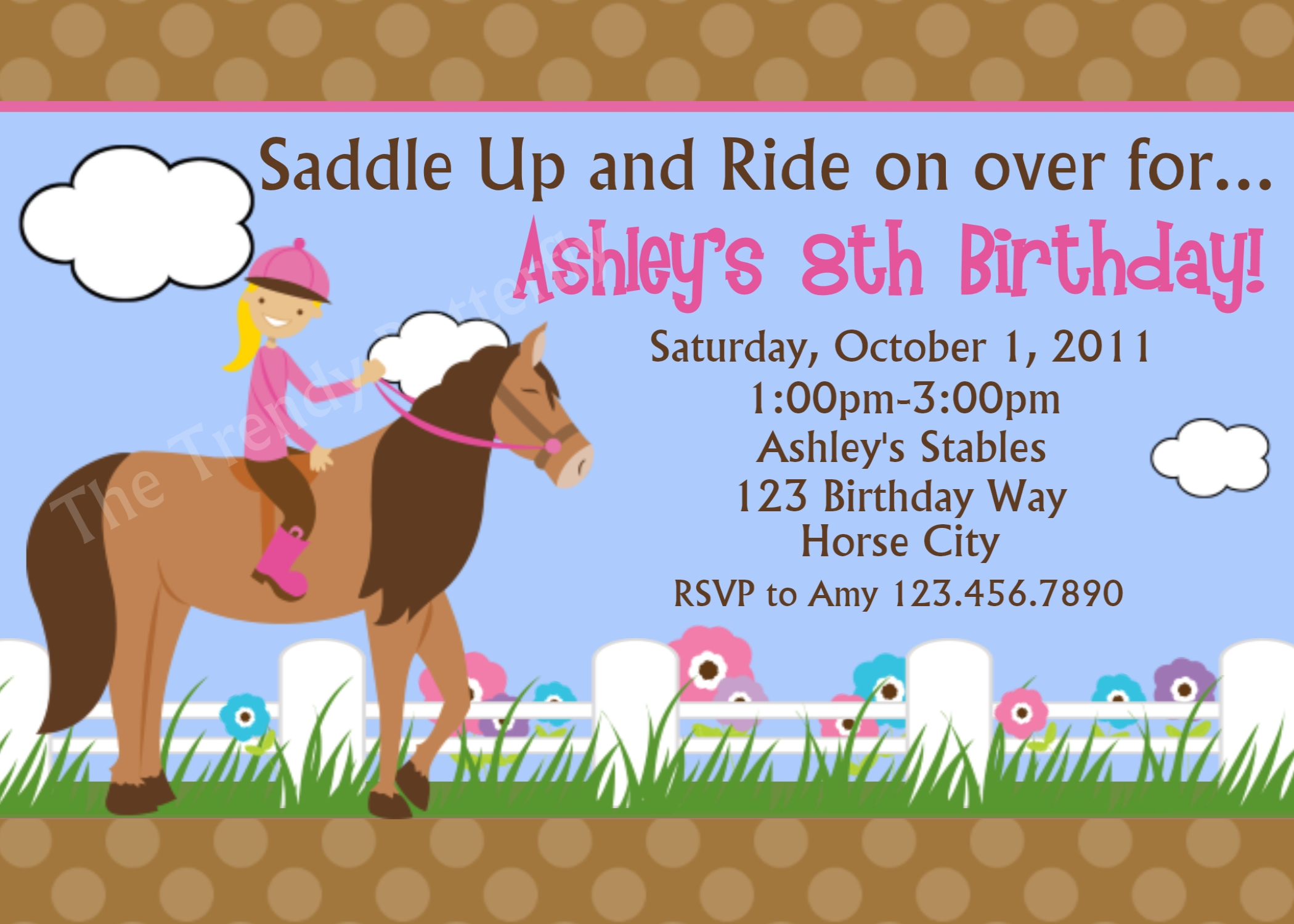 Printable Birthday Invitations Girls Equestrian Horse Riding Party