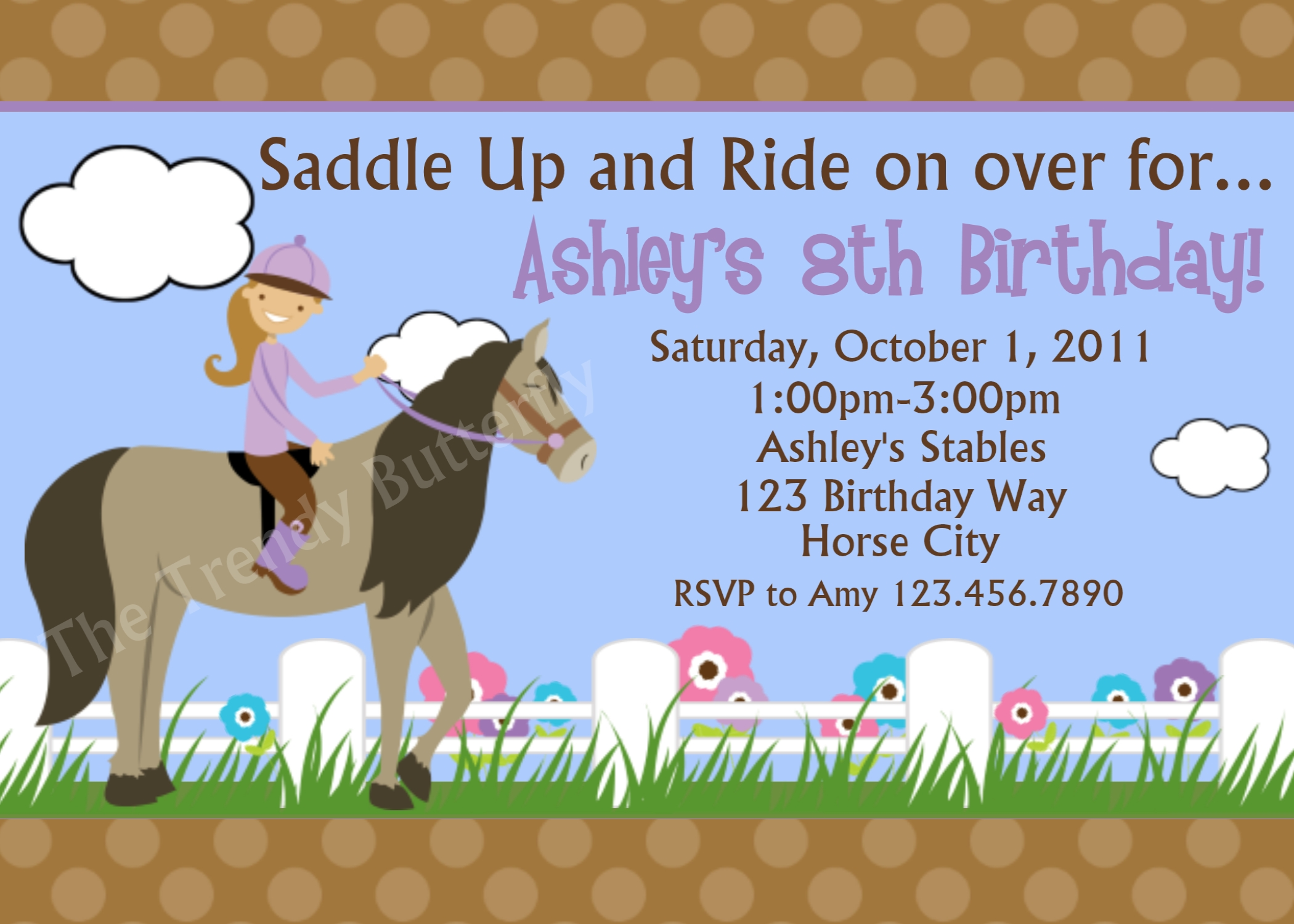 Printable Birthday Invitations, Girls Equestrian Horse Riding Party,