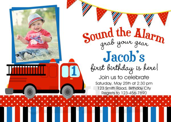 Printable Birthday Party Invitations Fire Truck Fire Truck – Fire Truck Party Invitations