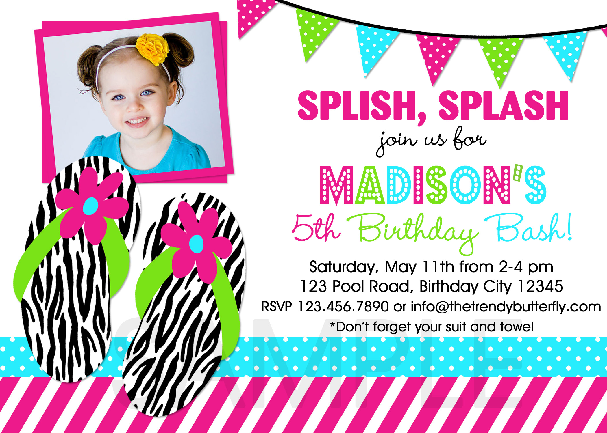 Pool Party Birthday Party Invitations , Girls Pool Party , Pool
