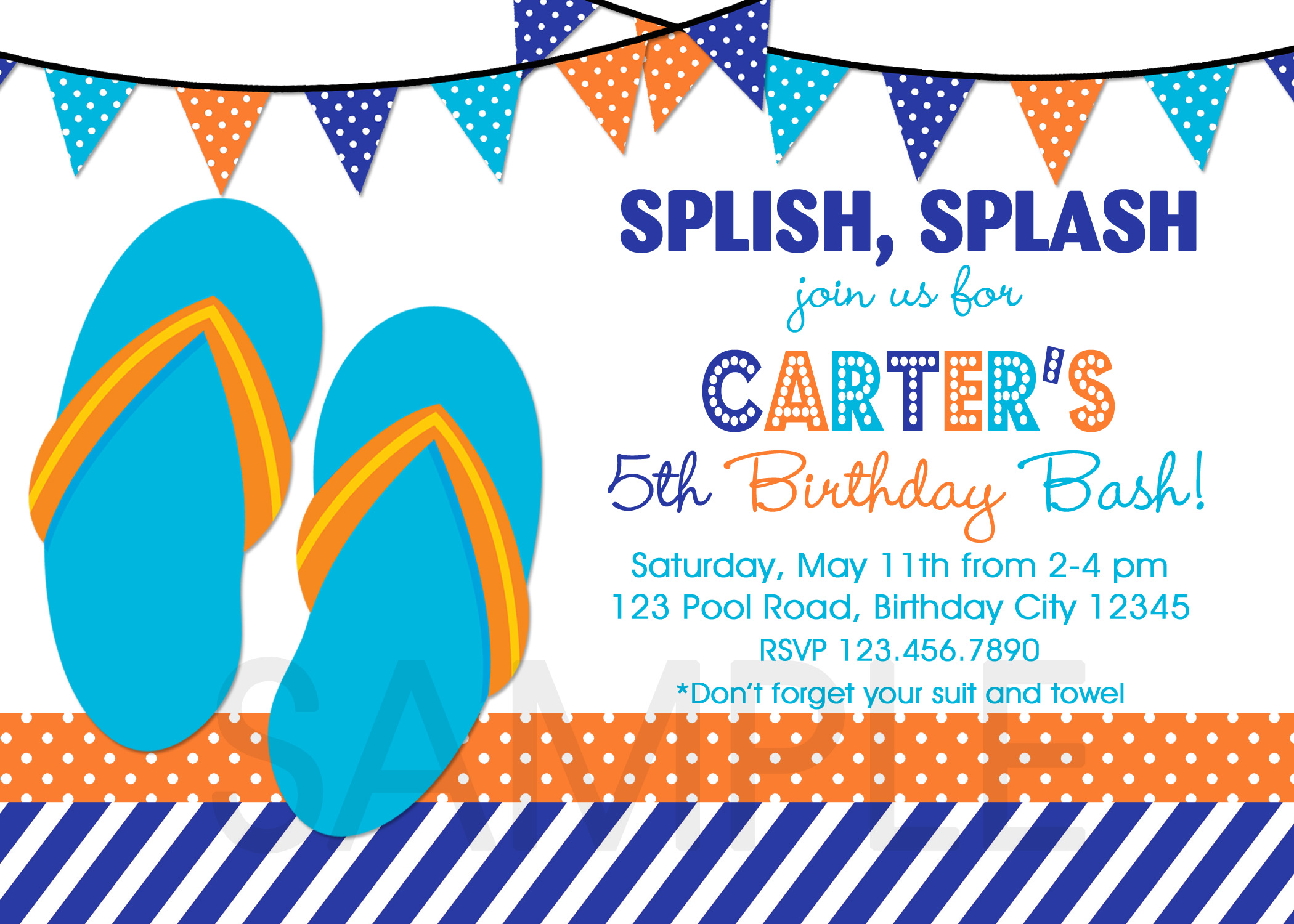Printable Birthday Party Invitations , Summer Themed Invite