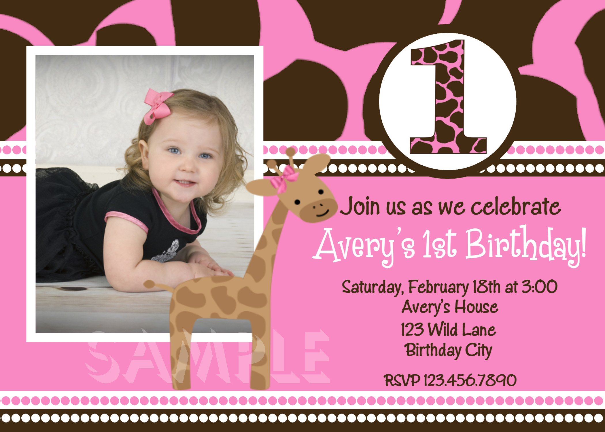Printable Birthday Invitations, Girls Pink Giraffe First Party,