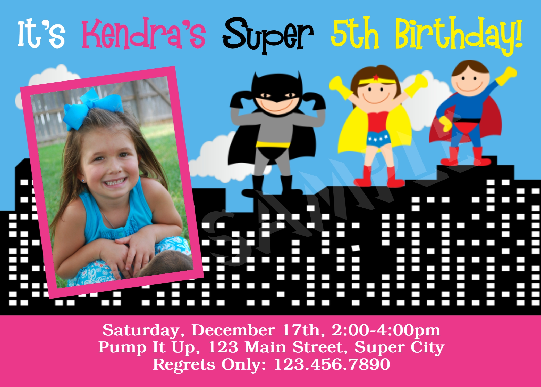 Printable Birthday Invitations Girls Superhero Party