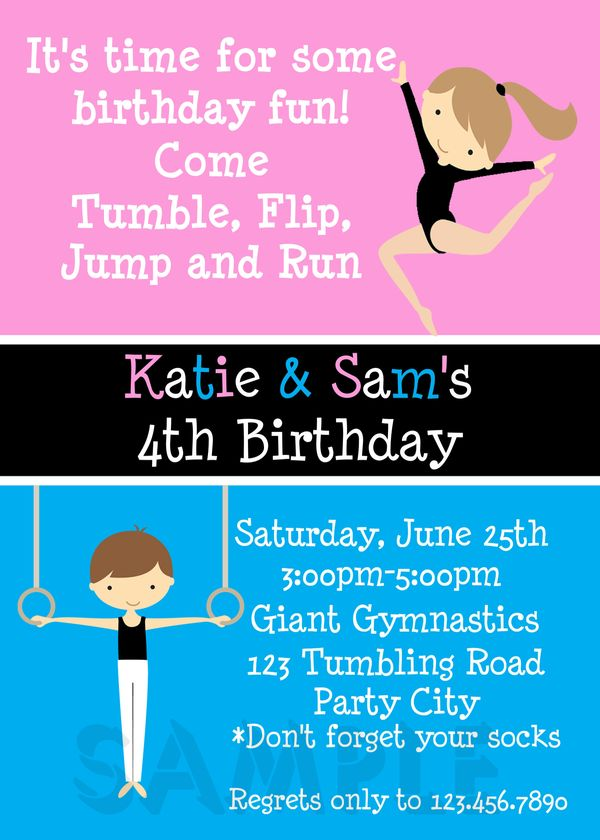 Printable Birthday Invitations, Twins Sibling Party, Gymnastics Themed